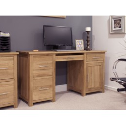 Modern Solid Oak Large Desk