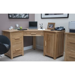Modern Solid Oak Corner Desk