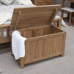 Modern Solid Oak Blanket Box