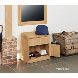 Mobel Oak Shoe Bench with...