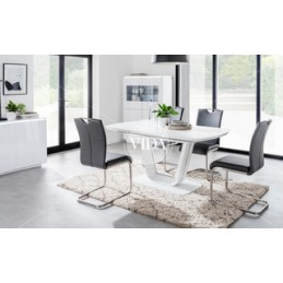 White Table with grey chairs
