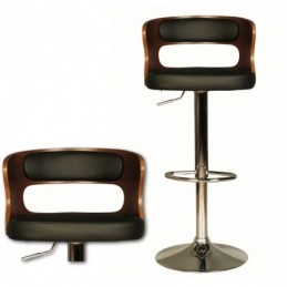 Laura Black & Chrome Bar Stool