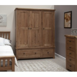 Rustic Oak Triple Wardrobe...
