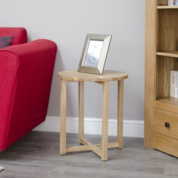 Modern Solid Oak Round Lamp...