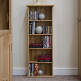 Modern Solid Oak CD/DVD Tower
